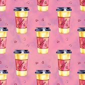 Watercolor Seamless Pattern. Coffee Hand Painted Illustration. Perfect For Apparel, Fabric, Textile. poster
