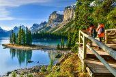 Panorama View Beautiful Spirit Island In Maligne Lake,jasper National Park, Alberta, Canada poster