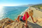 Caucasian Female Looks Point Dume State Beach From Point Dume Promontory On Malibu Coast In Ca, Unit poster