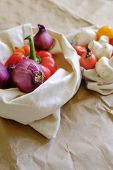 Fresh Vegetables In Eco Cotton Bags Against Vegetables In Plastic Bags. Zero Waste Concept - Use Pla poster