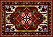 Persian Carpet, Tribal Vector Texture. Easy To Edit And Change A Few Colors By Swatch Window.persian poster
