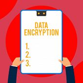 Text Sign Showing Data Encryption. Conceptual Photo Symmetrickey Algorithm For The Encrypting Electr poster