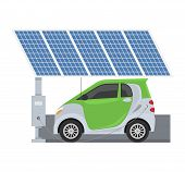 Fuel Alternative Vehicle Vector Team-car Or Gas-truck And Solar-van Or Gasoline Electricity Solar St poster
