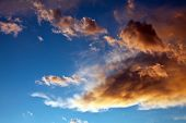 picture of thunderhead  - some stormy clouds entered in bright sky - JPG
