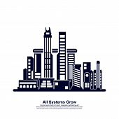 Modern City Skyline . City Silhouette. Vector Illustration In Flat Design. Vector Silhouettes Of The poster