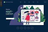 Medical Insurance - Medical Application -modern Flat Vector Concept Digital Illustration - Female Us poster