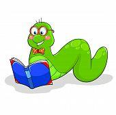 stock photo of bookworm  - friendly bookworm reading a book - JPG