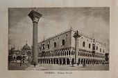 ITALY - CIRCA 1910: A picture printed in Italy shows image of Palazzo Ducale, Vintage postcards