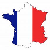 Flag Map France Illustration  Country Europe Geography poster