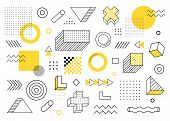 Geometric Background. Universal Trend Halftone Geometric Shapes Set Juxtaposed With Yellow Elements  poster