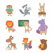 Cute School Animals. Bear Raccoon Lion Hare Hippo Fox, Pupils With Books And Backpacks. Back To Scho poster