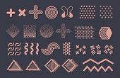 Memphis Graphic Vector Elements. Funky Geometric Shapes And Halftones Collection. Illustration Of Wa poster
