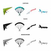 Isolated Object Of Transport And Object Sign. Set Of Transport And Gliding Stock Symbol For Web. poster