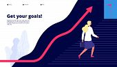 Personal Growth. Woman Walking Steps To Success, Boost Your Work To Target. Professional Career Busi poster