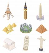 Isometric Landmark. Famous Building Travel Landmarks Pyramids Leaning Tower Big Ben Eiffel Tower Inf poster