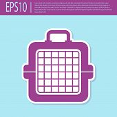 Retro Purple Pet Carry Case Icon Isolated On Turquoise Background. Carrier For Animals, Dog And Cat. poster
