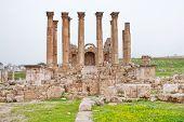 pic of artemis  - Corinthium colonnade of Artemis temple in ancient town Jerash in Jordan - JPG