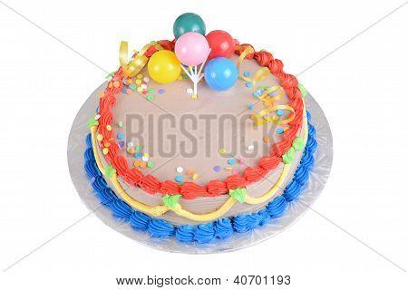 Top view chocolate birthday cake