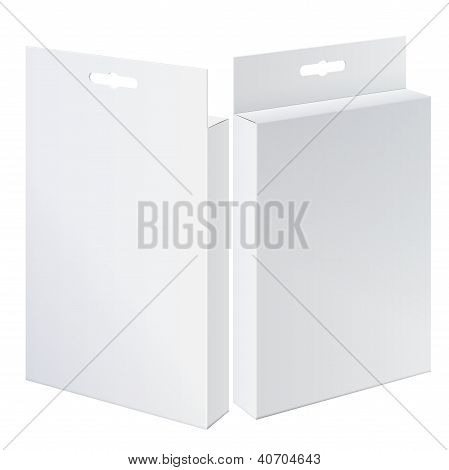 Fresco realista dos paquete caja de cartón. Vista delantera y trasera para medias, ropa interior, electrónica d