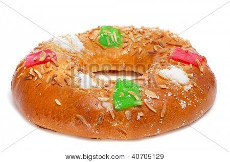 roscon de reyes, spanish three kings cake eaten on epiphany day, on a white background