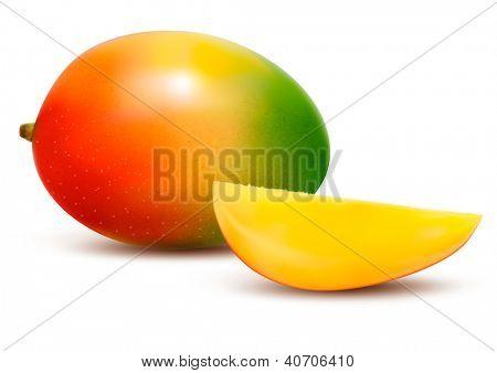Ripe fresh mango with slice. Vector illustration.