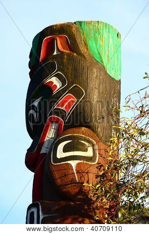 Inuit Totem Under Blue Sky