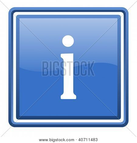 information blue glossy square web icon isolated