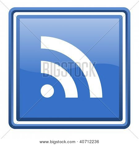 rss blue glossy square web icon isolated