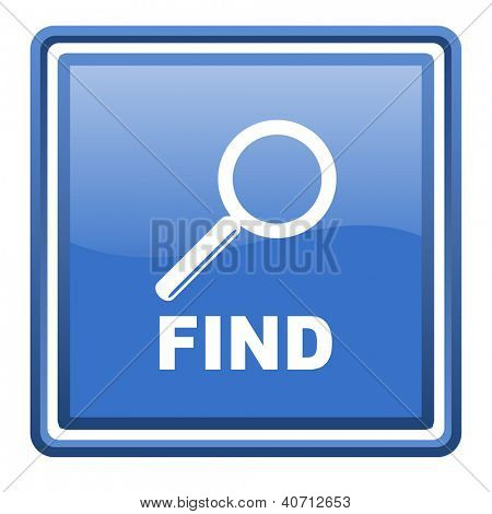 find blue glossy square web icon isolated