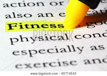 Fitness de palavra destacada com um marcador amarelo