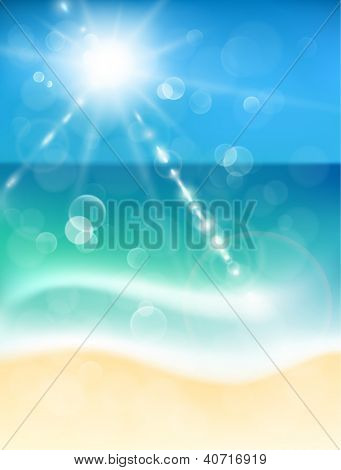 Abstract background with coastline and sunshine