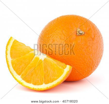 Whole orange fruit and his segment or cantle isolated on white background cutout