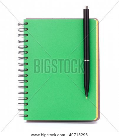 green cover notebook with black pen isolated on white background cutout