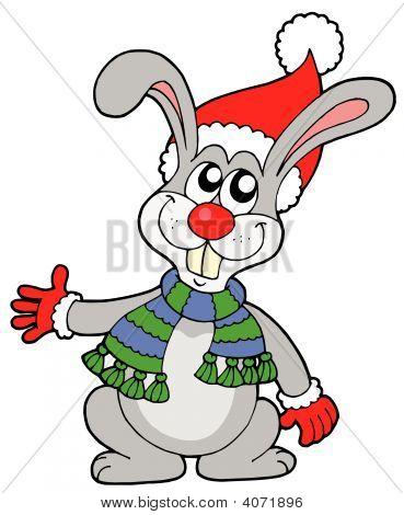 Lindo conejo en el sombrero de la Navidad