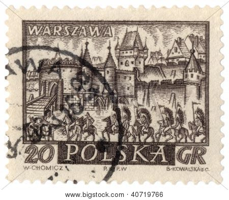 Cavalry To The Medieval Walls Of Warsaw On Post Stamp