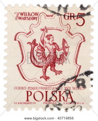 Coat Of Old Warsaw On Post Stamp