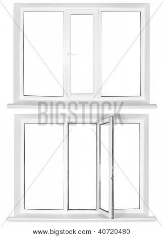Two white plastic windows isolated on white background