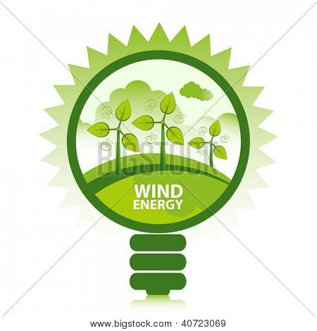 Green eco wind energy design concept. Clean energy generated by the wind.
