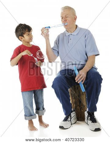 A barefoot preschooler holing a bottle of bubble-blower happily watches how his grandpa makes them happen.  On a white background.