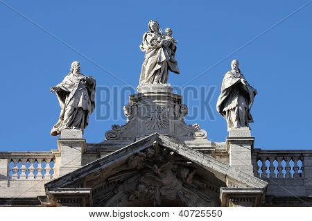 Statues on Top of Saint Mary Major Basilica in Rome