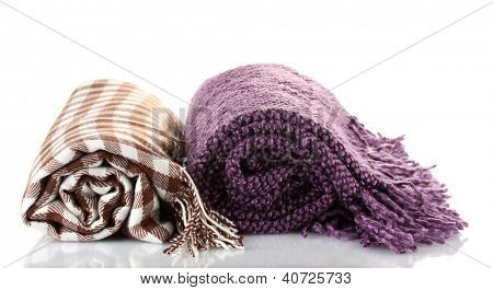 Two warm plaids isolated on white