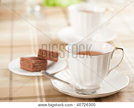 Cup Of Tea And Waffles