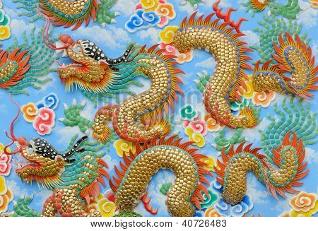 Dragon Sculpture Chinese Style On Wall In The Chinese Temple