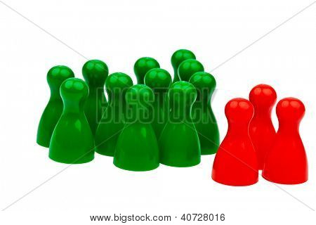 red and green pawns. unlike in the team. quota for women in the workplace.