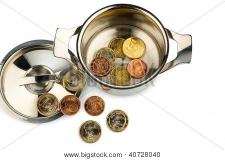 a pot with a few euro coins symbol photo for sovereign debt and financial crisis