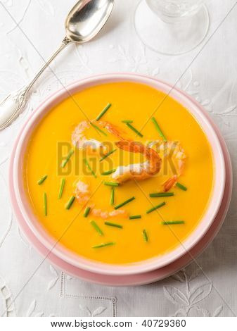 pumpkin soup with shrimp and chive