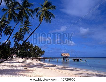 Beach and jetty, Pigeon Point, Tobago.