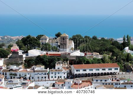View over town towards sea, Mijas, Andalusia, Spain.