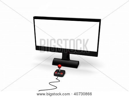 retro joystick in front of screen