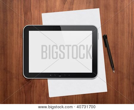 Digital Tablet With Pen On A Desktop